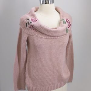 Arizona Jeans embroidered cowl neck pullover-sz S